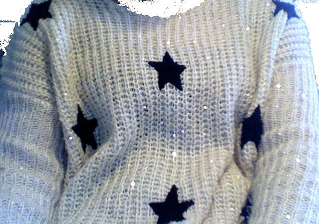 Glitzer Pullover mit schwarzen Sternen