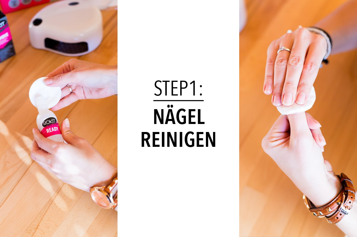 Rokit Shellac Nägel reinigen Step 1