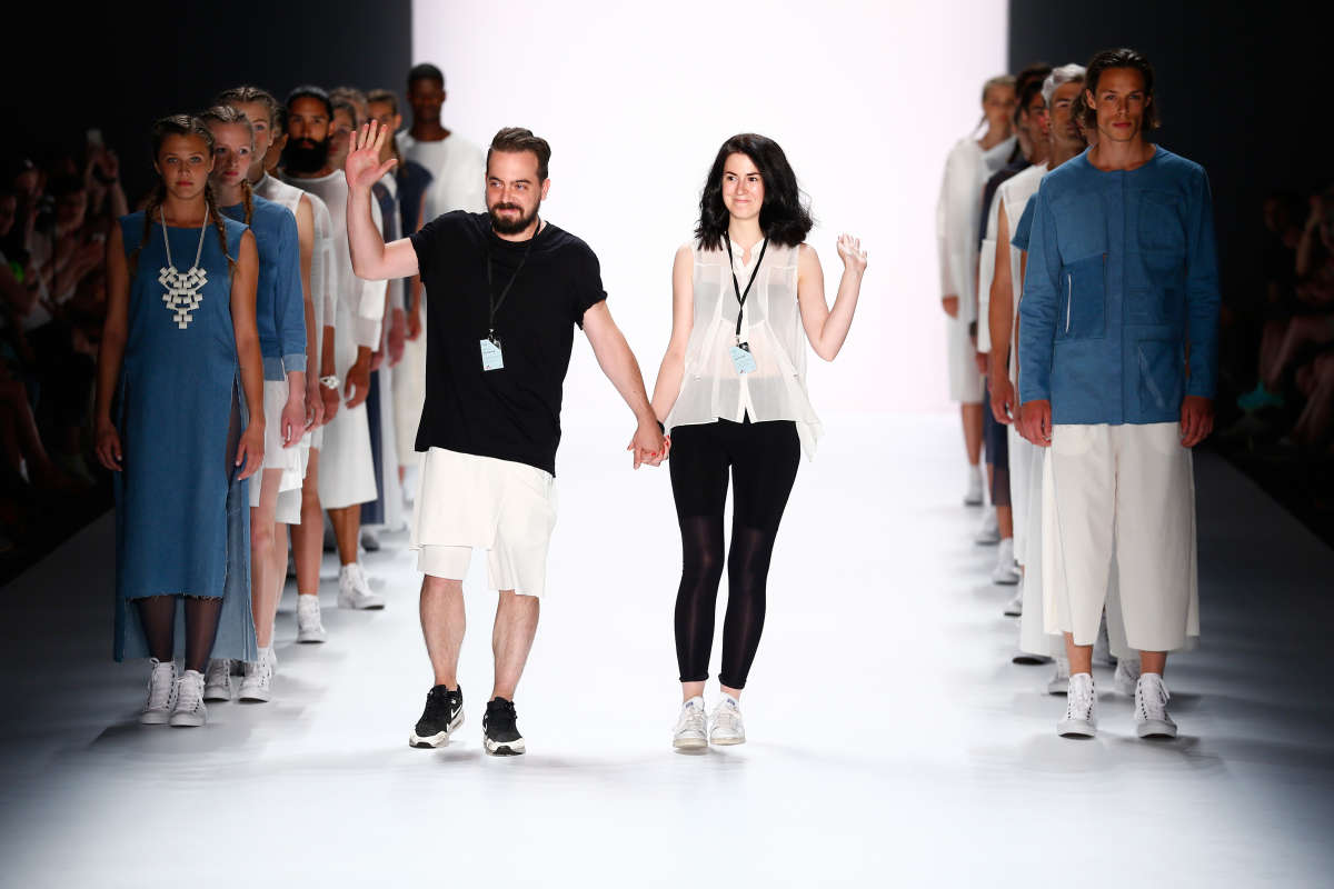 BERLIN, GERMANY - JULY 07:  Designers Martin Eichler and Kristina Puljan on the runway at the Vektor show during the Mercedes-Benz Fashion Week Berlin Spring/Summer 2016 at Brandenburg Gate on July 7, 2015 in Berlin, Germany.  (Photo by Frazer Harrison/Getty Images for Mercedes-Benz) *** Local Caption *** Martin Eichler;Kristina Puljan